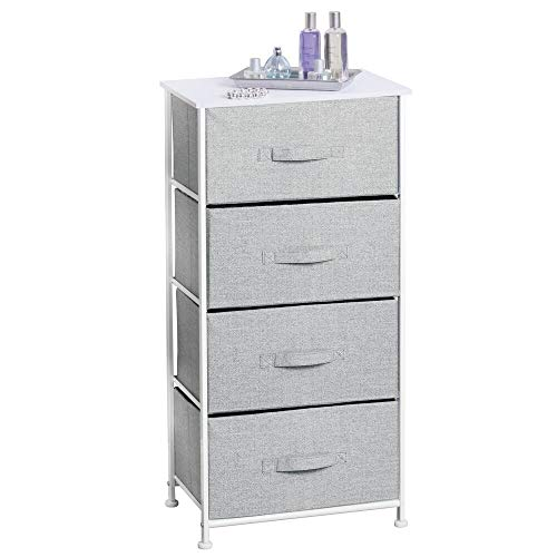 mDesign Fabric 4-Drawer Storage Organizer Dresser for Clothing, Sweaters, Jeans, Blankets - Gray