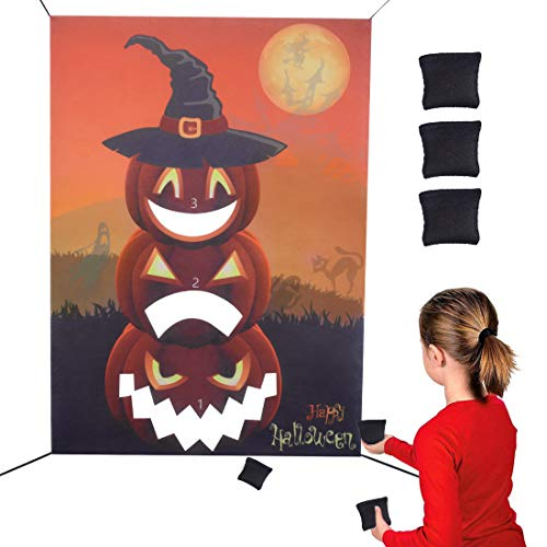 Fun Halloween Games For Adults (Max Fun Halloween Bean Bag Toss Games Toy Set - Hanging Felt Pumpkin Banner with 3 PCS Bean Bags for Halloween Outdoor Throwing Games for Adults Kids Party Funny Prop)