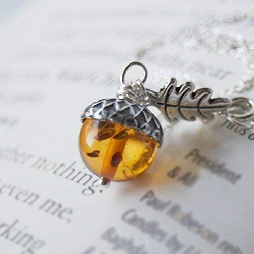 Enchanted Leaves - Amber and Silver Acorn Necklace - Man Made Amber -Cute Nature Charm Necklace