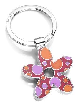 Llavero flor, metal fundido/esmalte, cromado, rojo, con ...