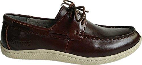 Cosycost Herren Wanderschuhe, handgemachte Nähte Mode Oxford Geniune Leder Breathable Bequeme Lace-Up flache beiläufige Freizeit-Müßiggänger-Schuhe, im Freien, Übung, athletische Turnschuhe für Männer Dunkler Kaffee