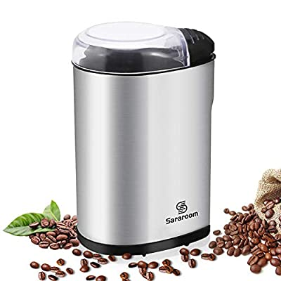 Electric Coffee Grinder, Sararoom Coffee Bean and Spice Grinder Mill 110V Low Noise DC Motor with Stainless Steel Body and Blades for Burr Spices, Coffee Bean, Nuts, Herbs, Grains and More