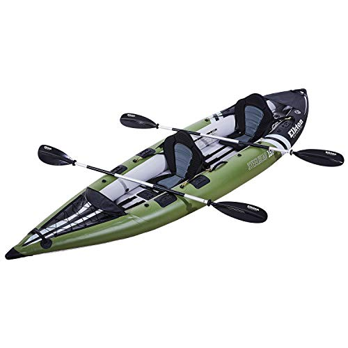 (Elkton Outdoors Steelhead Fishing Kayak, Inflatable Touring, Two Person Angler, Includes Paddle, Hard Mounting Points, Bungee Storage)