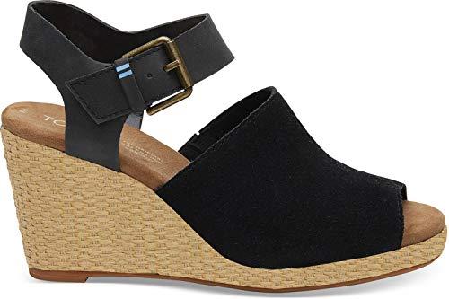 TOMS Women's Tropez Sandal Black Suede/Leather 7.5 M
