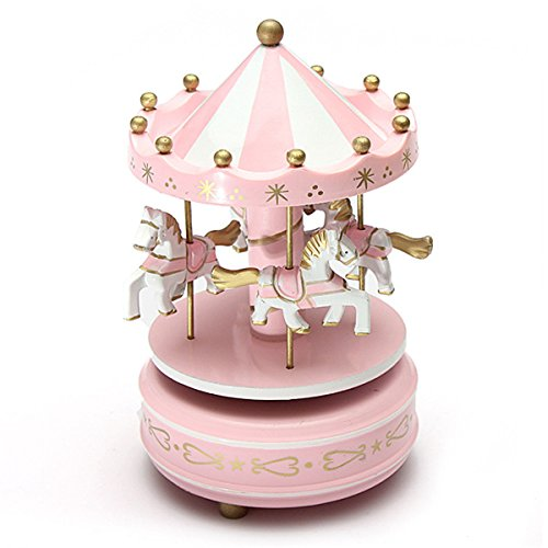 "New ""Pink 1Pc "" Wooden + Plastic Merry-Go-Round Carousel Music Box Christmas Birthday Gift Toy Set12"