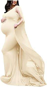 Beyonds Maternity Photography Dress Women Elegant Wrap Pregnant Sleeveless Chiffon Floor Maxi Trailing Long Dress For Photo Shoot Wedding Evening Party Gown Beige At Amazon Women S Clothing Store
