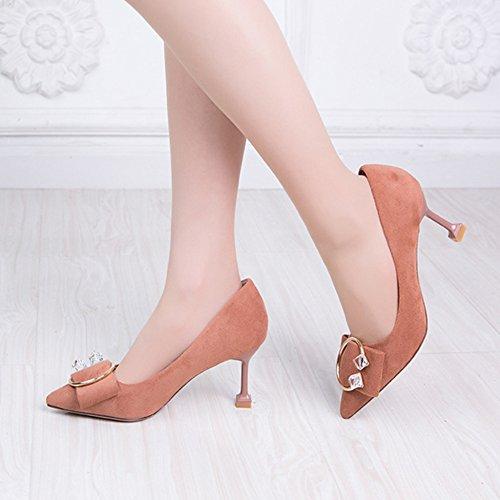 Schuhe Sandalen Büro Heels Frauen High Spitz Arbeit Stiletto cy Lady Schuhe Court Strass q7F4g85