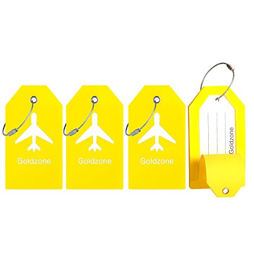 PVC Rubber Luggage Tags w/Full Privacy Flap,Great for Luggage Cases Identification by Goldzone (Yellow-4 Pack)