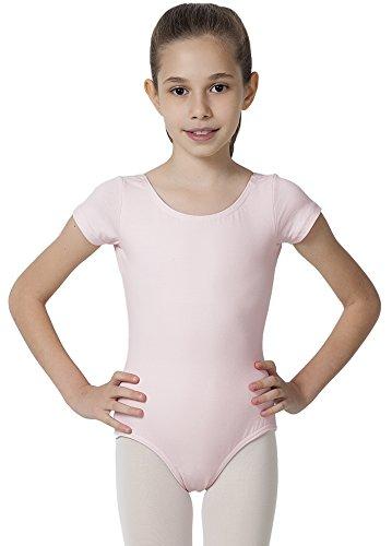 - CAOMP Girl's Gymnastics Leotards, Short Sleeve Organic Cotton Spandex, Dance