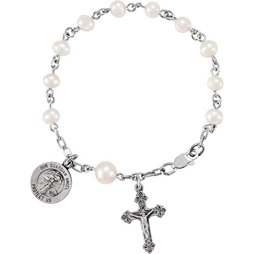 Bracelet Freshwater Pearl Rosary (Sterling Silver 4mm Freshwater Cultured Pearl Our Guardian Angel Rosary 6-3/4