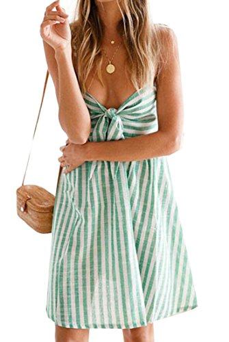 Knot Dress Strap Spaghetti Mini Domple Beach Tie Womens Slip Stripe Green Flared Sexy RA8qxxawF
