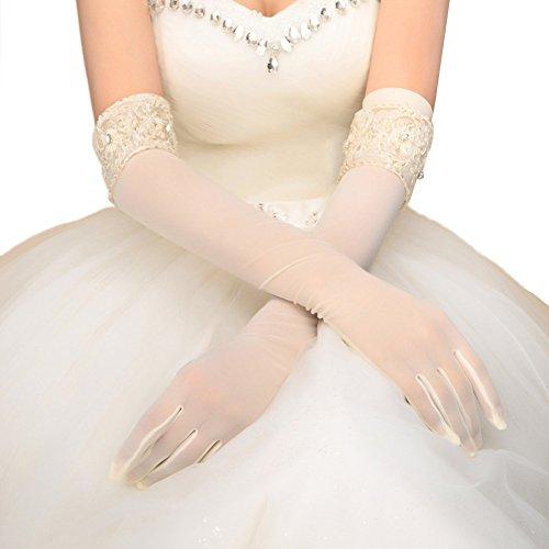 Beaded Sheer Gloves (Vimans Womens Fashion Long Lace Gloves Full Fingers Bridal Gloves White Beaded)