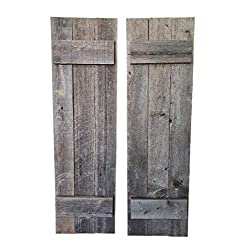Rustic Shutters Made from 100% Reclaimed Weathered Wood - Perfect for Farmhouse Barnwood Style Decor - Set of 2 - Made in The USA (11x36)