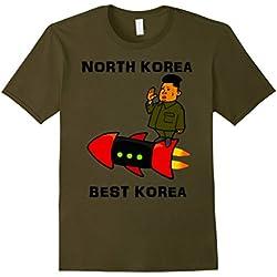 Mens Trump Rocket Man Kim Jong Un North Korea Tshirt Large Olive
