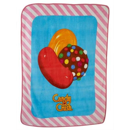 Kids Sherpa Throw Blanket, 46x60-Inch(Candy Crush