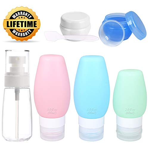 Chamch Travel Bottles Set, TSA Approved Portable 3-layer Leakproof Silicone Refillable Travel Containers and PET Plastic Spray Bottles, 3oz or 2oz by Chamch
