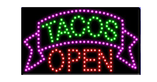 LED Tacos Tortas Burritos Open Light Sign Super Bright Electric Advertising Display Board for Message Business Shop Store Window Bedroom 19 x 10 inches (Tacos Open) ()