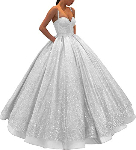 Meijia Long Prom Quinceanera Dresses 2019 Spaghetti Strap Evening Party Ball Gowns for Wedding ME066 White