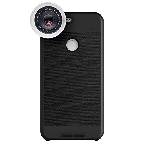 Google Pixel XL Case with Macro Lens Kit || Moment Black Canvas Photo Case plus Macro Lens || Best google macro attachment lens with thin protective case. by Moment