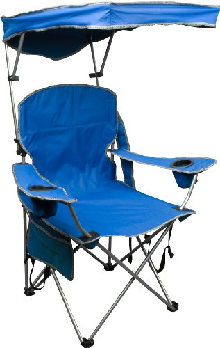 Camp Out Awning - Quik Shade Adjustable Canopy Folding Camp Chair - Royal Blue