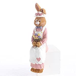 Group of 12 Sweetly Painted Resin Springtime Rabbit Bunny Shelf Sitters for Easter, Gifting and Displaying