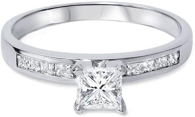 14k White Gold 1ct Princess Cut Diamond Engagement Ring Amazon Com
