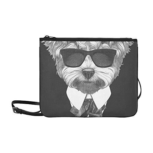 - Portrait Maltese Poodle Suit Hand Drawn Custom High-grade Nylon Slim Clutch Bag Cross-body Bag Shoulder Bag