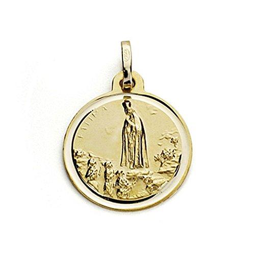 18k médaille d'or Vierge de Fatima 16mm. chanfrein [7558]