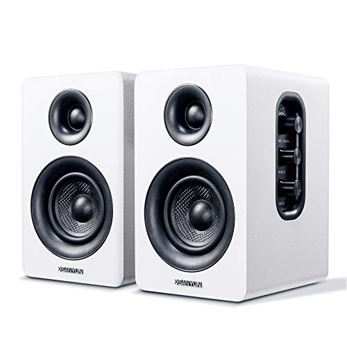 "Sanyun SW208 3"" Active Bluetooth Bookshelf Speakers - 60W Carbon Fiber Speaker Unit - aptX Codec - Built-in 24 bit DAC - Dynamic 3D Surround Sound - Computer PC Monitor Gaming Speakers (Pair, White)"