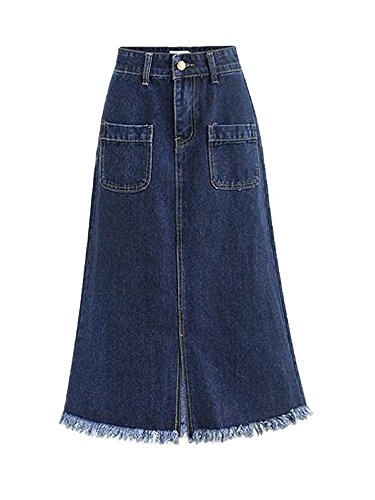 Gooket Women's High Waist A Line Stretch Denim Skirt Tassels Split Hem Pockets Midi Jean Skirt Blue Tag XL-US S (Skirt Stretch Denim Bleach)