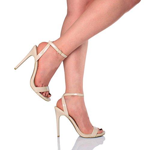 Scarpe Sandali Fibbia Lì Partito Beige Tacco Verniciato Crema Alto Quasi Con Numero Cinturino Donna xfRzXW