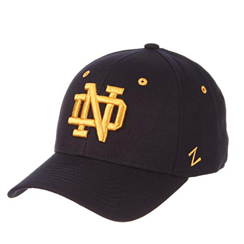 (University of Notre Dame ND Fighting Irish Blue DH Adult Mens Baseball Fitted Hat/Cap Size)