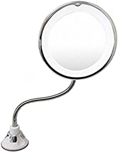 NiSeng Wall Mirror with Lights,10x Magnifying Mirror Led Cosmetic Wall Mounted Magnifying Mirror Illuminated Shaving Mirror Sucker-Type Makeup Mirror 360 Rotating