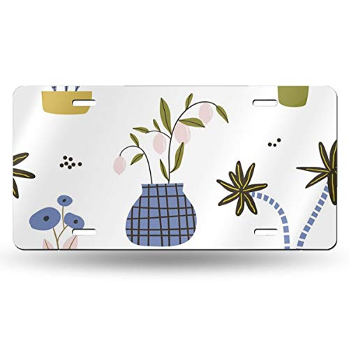 Poream Cute Comic Potted Work Personalized Novelty Label Aluminum License Plate Cover Protector for All Standard Cars 6