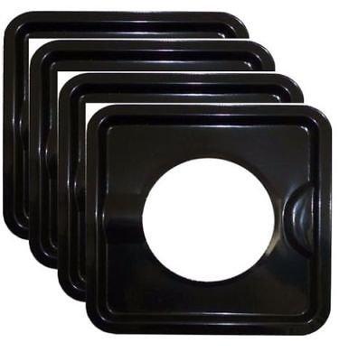 (BLACK STEEL HEAVY DUTY SQUARE REUSABLE DRIP PAN GAS BURNER BIB LINER COVERS BN24)