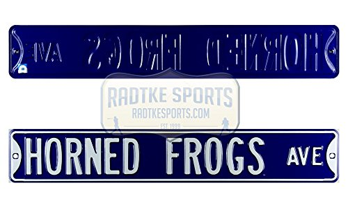 (TCU Horned Frogs Avenue Officially Licensed Authentic Steel 36x6 Purple & White NCAA Street Sign)