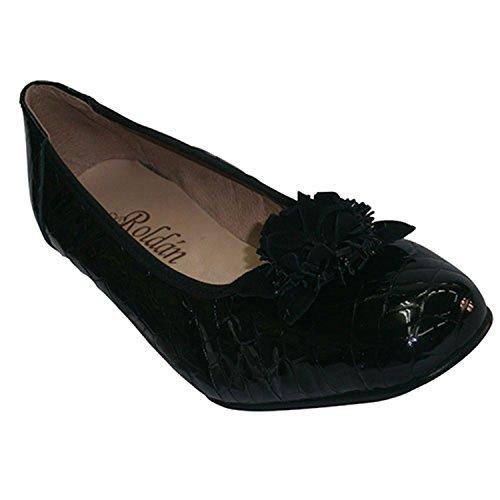 Roldan Noir En Brevet Ballerines Coin De Chaussures Type Crocodile Cuir zAqrzRT