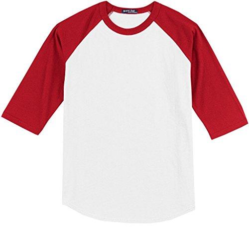 - Sport-Tek Big Men's 3/4 Sleeve Raglan Baseball T-Shirt 6XL White/Red #590H