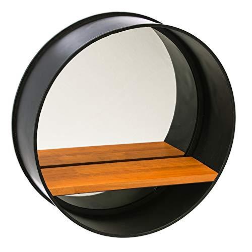 Cape Craftsmen Round Black Metal Frame Mirror with Wood Shelf