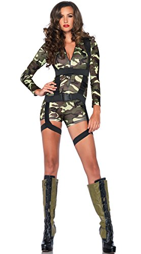 Leg Avenue Women's 2 Piece Goin' Commando  Military Costume, Camo, Medium