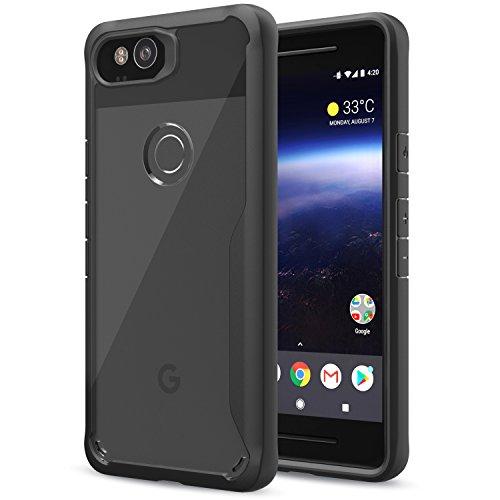MoKo Google Pixel 2 Funda - Delgado TPU Ligero del Gel Parachoques de Amortiguación rígido de la Contraportada Transparente Anti-arañazo Funda Protectora para Google Pixel 2, Gris Negro