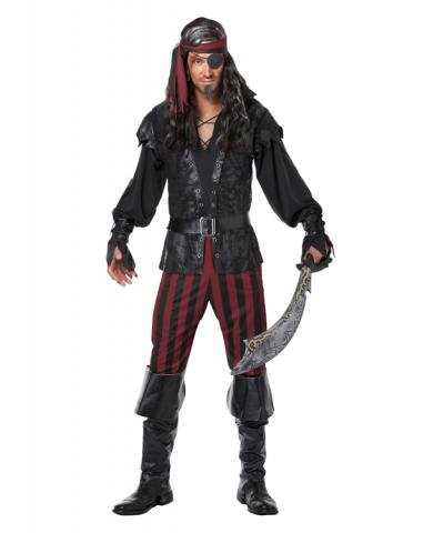 Men Costume 2016 (California Costumes Men's Ruthless Rogue Pirate Buccaneer Swashbuckler, Black/Red, X-Large)