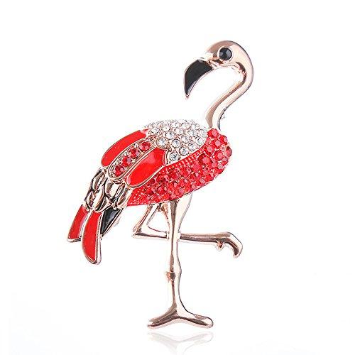 CHOA Delicate Flamingo Brooch Pin - Lovely Rhinestone Brooch Pin For Women Girls (gold) by CHOA