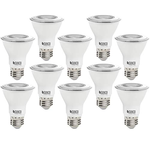 Sunco Lighting 10 Pack PAR20 LED Bulb, 7W=50W, Dimmable, 5000K Daylight, E26 base, Indoor/Outdoor Spotlight, Waterproof - UL & Energy Star
