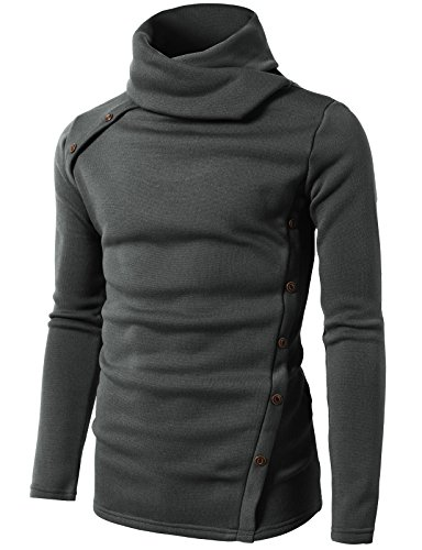 H2H Mens Solid Soft Slim Fit Button Point Knitted Marled Turtleneck Sweater Gray US S/Asia M (CMTTL065) ()