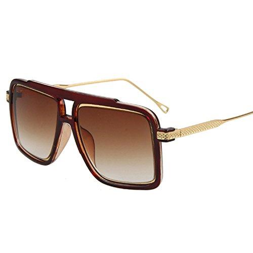 Square Sunglasses Men Vintage Gradient Anti uv Gold Hip Hop,C6 Matt Black Gray,picture color