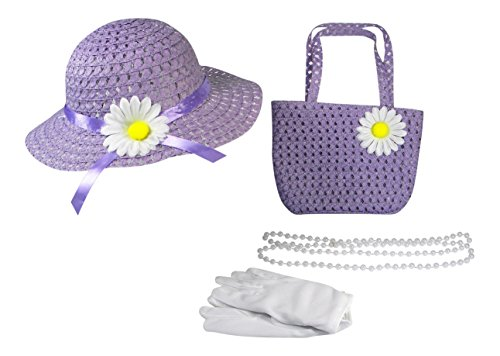 Butterfly Twinkles Girls Tea Party Dress Up Play Set With Sun Hat, Purse, White Gloves, and Plastic Pearl Necklace Daisy Purple Purple Plastic Purse