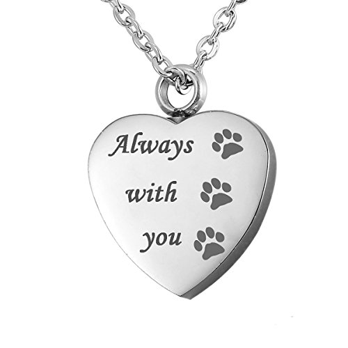 SG Always in My Heart Pet Paw Cremation Urn Necklace Dog Ash Jewelry Memorial Keepsake Pendant Free Engraved