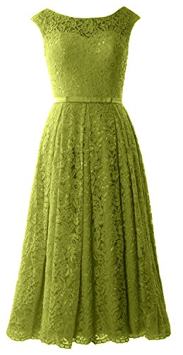 MACloth Caps Sleeve Lace Cocktail Dress Tea Length Wedding Party Formal Gown (20w, Olive Green) (Plus Size 90s Fancy Dress)
