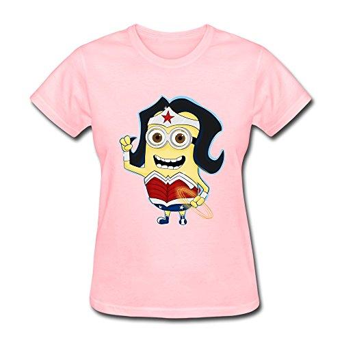 FHY Women's Wonder Woman Minions T-shirts Large Pink